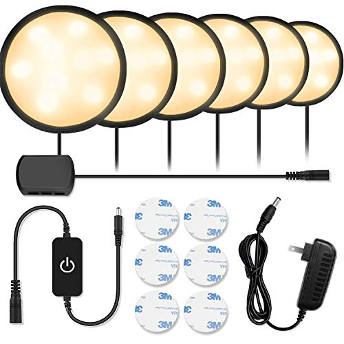 - Newest Black LED Under Cabinet Lighting Kit, 1020 Lumens LED Puck Light, 3000K Warm White, CRI90+, Touch Dimming, All Accessories Included, for Kitchen, Closet Lights, Safe Light, 6-Pack