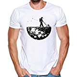Unisex Graphic Tees for Men Women Funny Digital Printing T Shirt Summer Short Sleeve Top Blouse(White,L)