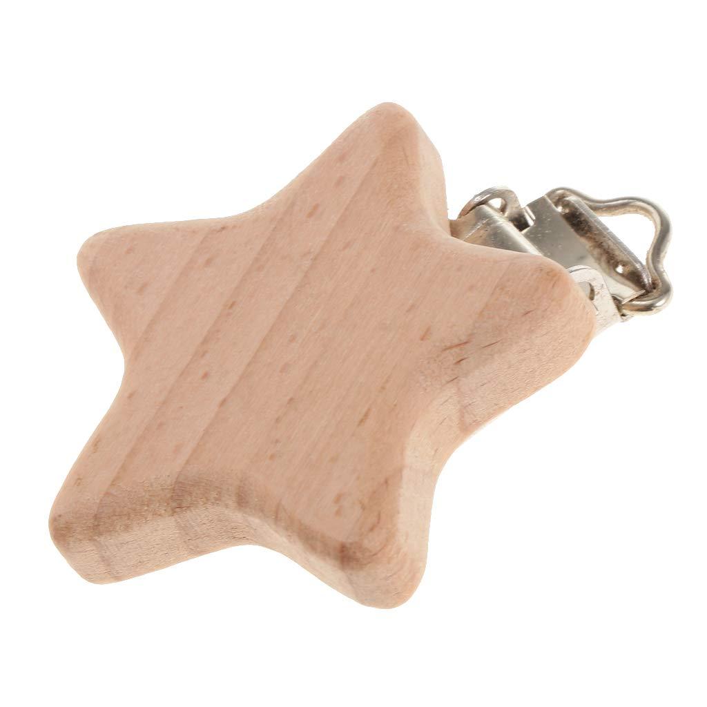 Holz Schnuller Clip zum Schnulli-Clip oder Kinderwagenkette Star