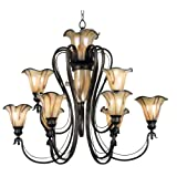 Vintage Kenroy Home TS Inverness Ten Light Chandelier Tuscan Silver with Chrome Swirl Globes