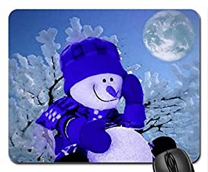 Snowman Evening Mouse Pad, Mousepad (Winter Mouse Pad, Watercolor style) by runtopwell
