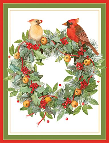 Entertaining with Caspari Wreath With Cardinals Christmas Cards, Box of 16
