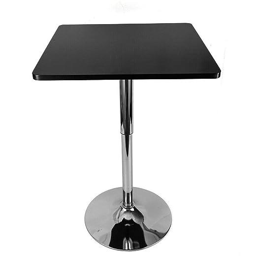 eSituro Tavolo da Bar Quadrato Tavolino da Pranzo Regolabile in Altezza Girevole