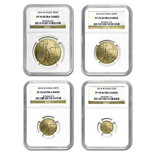 2014 W 4-Coin Proof Gold American Eagle Set PF-70 NGC PF-70 ()