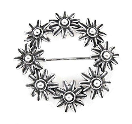 Sterling Silver Flower Burst Wreath Brooch Pin
