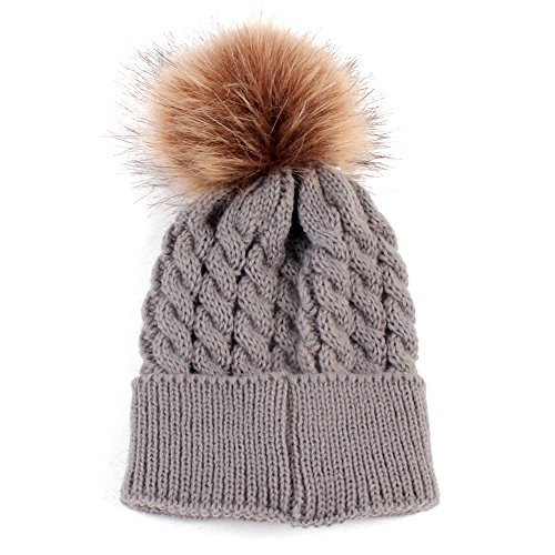 MIOIM Baby Girl Boys Winter Wool Knitted Fur Ball Pompom Bobble Hats