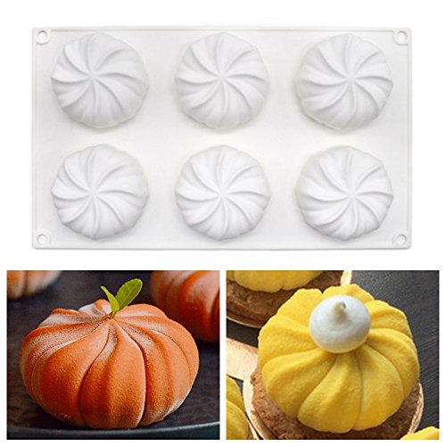 New 6 Cavity Pumpkin Mousse Silicone Mold, Cake Chocolate Jelly Fondant Soap Mold, Muffin Pastry DIY, Non-stick Baking Tools Baking Pan (White)
