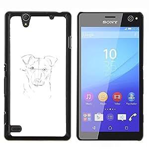 TECHCASE---Cubierta de la caja de protección para la piel dura ** Sony Xperia C4 ** --pintura del perro dibujo dibujo a lápiz blanco