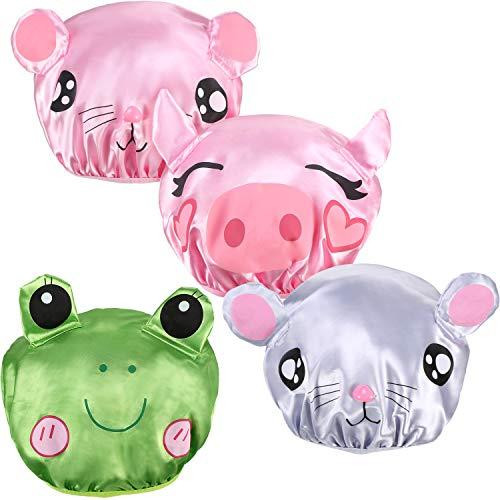 Yaomiao 4 Pieces Waterproof Shower Cap Reusable Bath Hat Kids Shower Bath Caps with Animal Print for Children Boys Girls -