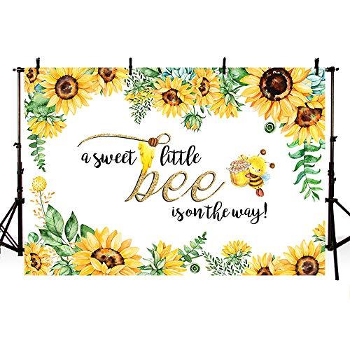MEHOFOTO 7x5ft Sweet Little Bee Princess Girl Baby Shower Party Decorations Backdrop Yellow Bee-Day Honey Sunflower Photography Background Photo Banner -