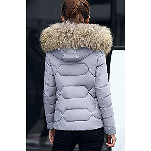 Short Warm with Grey BOZEVON Faux Women's Fur Zip Winter Coat Jacket Hood q66ExCwF