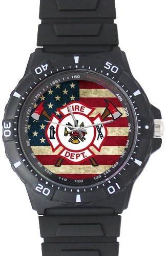 100% plástico cuarzo reloj Cool bombero emblema y la bandera americana Negro Plástico día de Navidad regalo reloj: Amazon.es: Jardín