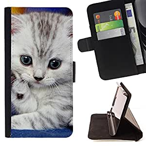 - Cute Baby Kitten Eyes Gray Cat - Estilo PU billetera de cuero del soporte del tir???¡¯????n [solapa de cierre] Cubierta- For HTC Desire 820 £¨ Devil Case £©