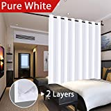 door panel darkening - Flamingo P Room Darkening Pure White Wide Patio Door Curtains Faux Silk Satin with White Liner Thermal Insulated Window Treatment Panels, Grommet Top (100 x 84 Inch, One Panel)