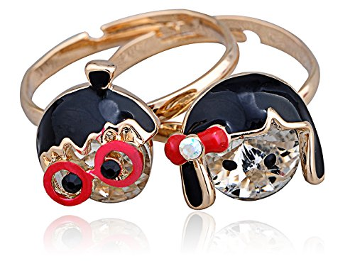Alilang Golden Tone Two Piece Crystal Rhinestone Geeky Nerdy Love Couple Adj Ring Pair ()