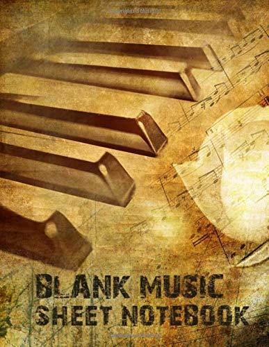 Blank Music Sheet Notebook: Vintage Retro Piano Art Design. Music Manuscript Paper, Staff Paper, Music Notebook 12 Staves, 8.5 x 11