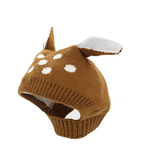 Baby Girl Winter Hat Toddler Kids Boy Warm Knitted Wool Thick Earflap Crochet Animal Deer Ear Beanie Cap (Brown)