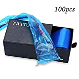 Tattoo Clip Cord Covers Sleeves - Yuelong 100pcs Disposable Hygiene Safety Transparent Blue Tattoo Clip Cord Sleeves Bags for Tattoo Power Cord Tattoo Machine Gun Accessories Tattoo Supplies