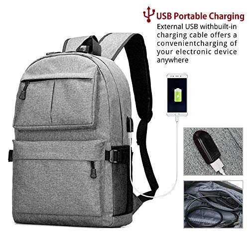 EUATEO Mochila para computadora portátil, Mochila Escolar de 15 y 39,6 cm con Puerto de Carga USB Bandolera para Hombre y...