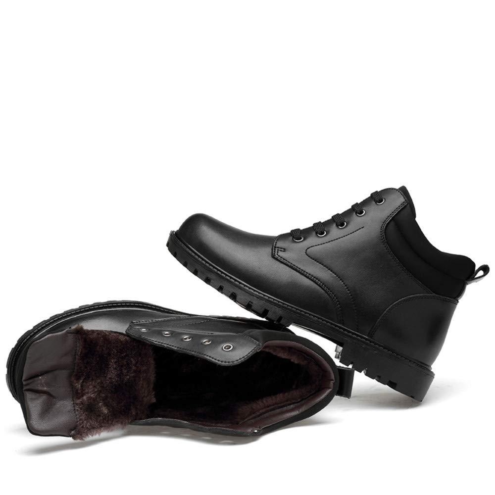 HILOTU Herrenmode Lace Up Up Up Stiefeletten Casual Classic Round Toe High Top Wasserdichte Chukka Stiefel (Warm Velvet Optional) (Farbe   Warm schwarz, Größe   46 EU) 818181