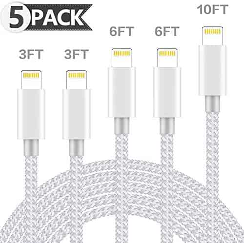 ONXIGLI MFi Certified iPhone Charger Lightning Cable 5 Pack[3/3/6/6/10FT]Extra Long Nylon Braided USB Charging&Syncing Cord Compatible iPhone Xs/Max/XR/X/8/8Plus/7/7Plus/6S/6S Plus/SE/iPad/Nan More