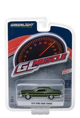 1976 Ford Gran Torino Dark Green Metallic Greenlight Muscle Series 20 1/64 Diecast Model Car by Greenlight 13210 D