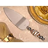 Chic Murano Art Golden Swirls Cake Server - 96 Pieces