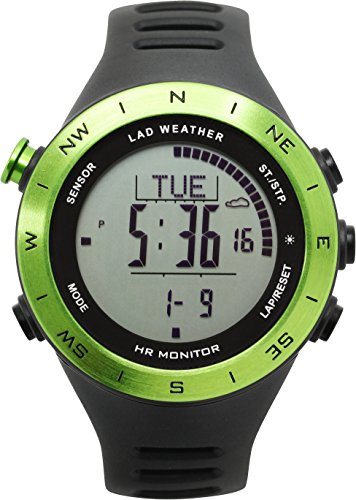 LAD WEATHER Altimeter Barometer Compass Watch + Heart Rate Monitor Thermometer USB Rechargeable Climbing Trekking ()