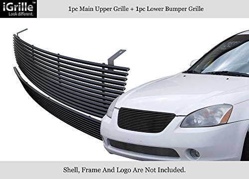 Compatible with 2002-2004 Nissan Altima Bumper Stainless Black Billet Grille Insert Combo S18-J19978N