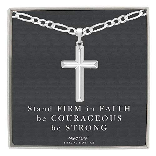 Mens Sterling Silver Cross Necklace Figaro Chain and Faith Card Gift - 120-20