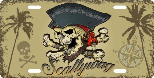 Scallywag Pirate License Plate Novelty Tag from Redeye Laserworks (Scallywag Pirate)