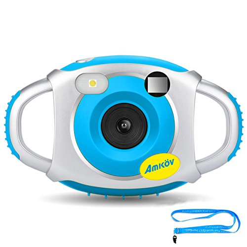 Kids Camera, Amkov Electronic Camera for Kids, Children Creative Digital Camera, 5Mp 1.44 Inch TFT Display Video Recording Blue Wthout SD Card