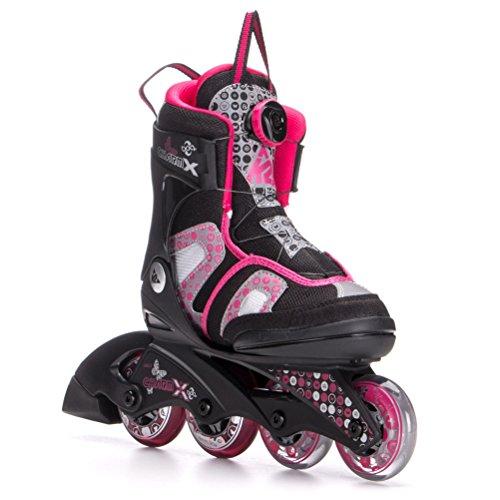 K2 Skate Girl's Charm X Boa Inline Skates, Black/Fuchsia, 1-5