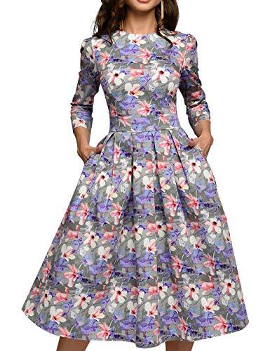 - Simple Flavor Women's Floral Evening Flare Vintage Midi Dress 3/4 Sleeve (0668ZS, XL)