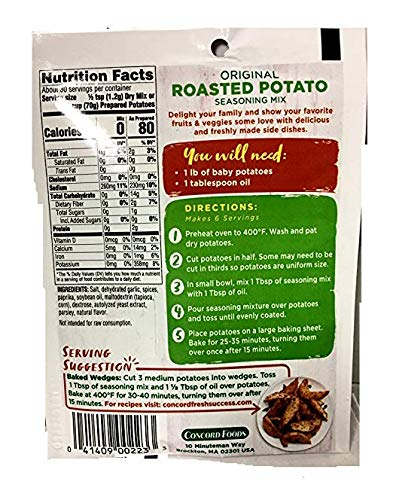 Concord Farms Roasted Potato Seasoning Mix, Original, 1.25-Ounce Pouches (VALUE Pack of 18 Pouches)