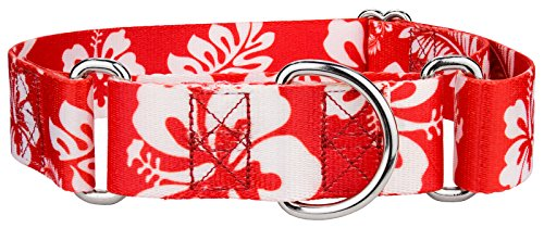 Red Hawaiian Dog - Country Brook Petz 1 1/2 Inch Red Hawaiian Martingale Dog Collar - Large