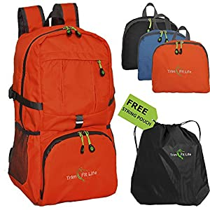 #1 TravPack-30L Best Quality Foldable Lightweight Backpack Daypack-Water Resistant with Premium Waterproof Zippers For Active Lifestyle And Travel (Orange)