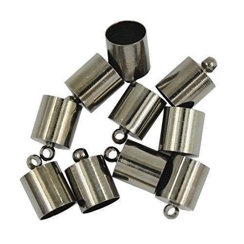 MagiDeal 10pcs Brass Tone Column Pendants/Necklace End Caps - Gun black