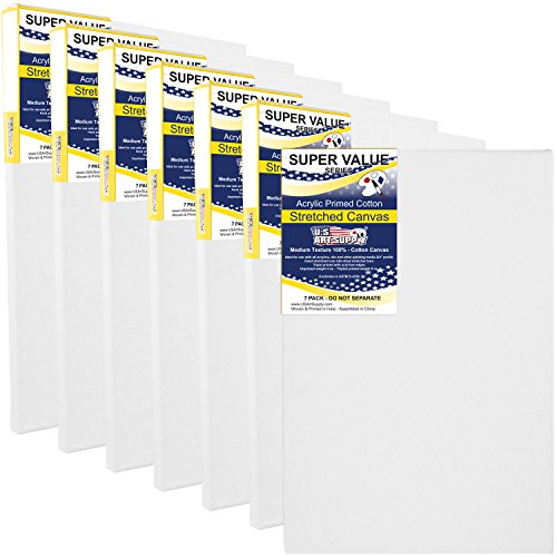 US Art Supply 11 x 14 inch Super Value Quality Acid Free Stretched Canvas 7-Pack - 3/4 Profile Primed Gesso (Super Value Pack of 7 Canvases) by US Art Supply