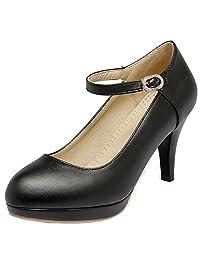Rongzhi Womens Kitten Low Heels Mary Jane Ankle Strap Rhinestone Pumps Platform Stiletto Round Toe Shoes