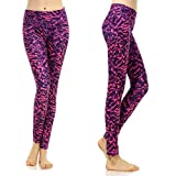 SOUTEAM Womens Yoga Leggings with Pocket Lightweight Fitness Pants, Purple & Pink, X-Large