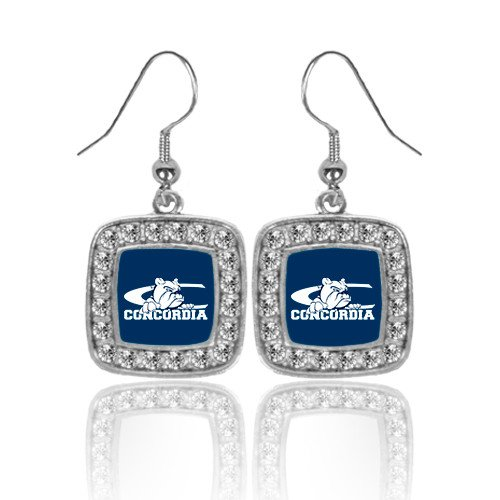 Primary Logo Earrings (CUNE Crystal Studded Square Pendant Silver Dangle Earrings 'Primary Logo')