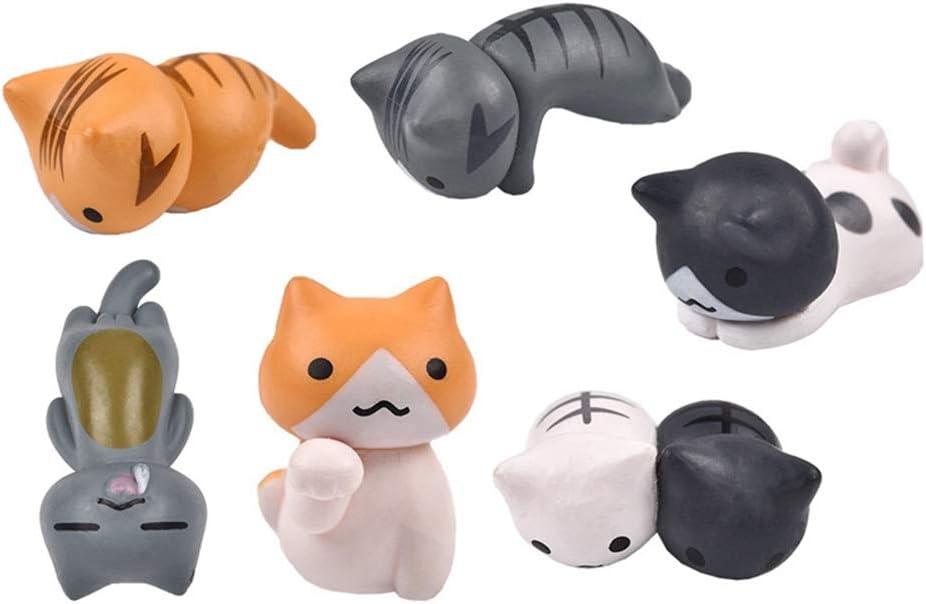 DAWEIF 6 Pcs/Set Cute Lucky Cat Miniature Figurines Fairy Garden DIY Dollhouse Crafts Ornaments Home Decor Toys