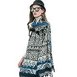 DANA XU 100% Pure Wool Women's Large Traditional Cultural Wear Pashmina Scarf (Blue)