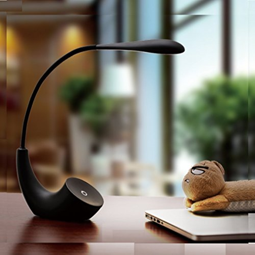 Incandescent Rechargeable Flashlight - HAGDS New Creative Desk Lamp European Simple LED Rechargeable Desk Lamp USB Charging Learning Reading Eye Lamp (Color : Black)