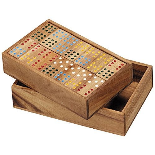 BRAIN GAMES Double-Nine Wooden Dominoes (Small)
