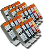 25 Chipped Compatible High-Capacity Canon PGI-525 & CLI-526 Ink Cartridges for Canon Pixma iX6550