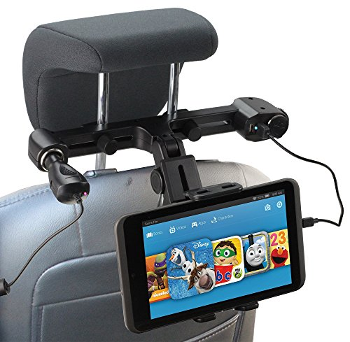 "Navitech USB port 4.2A headrest mount with integrated car charger for the Acer Iconia W800 8"", W510, W700, A200, A700, M500, A100, A500, A1 Liquid"