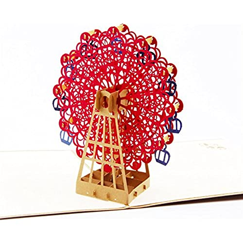 Paper Spiritz 3d pop up Greeting Card Ferris Wheel Vintage Anniversary Baby Happy Birthday Easter Mother's Day Thank You Valentine's Day Wedding Kirigami Sales