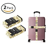 YEAHSPACE 2PC Set Cheetah Golden Leopard Luggage Straps TSA Approved Lock Suitcase Belts Travel Tags Accessories